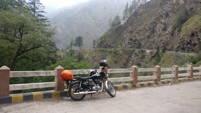 our bike on a bridge- royal enfield electra 350cc