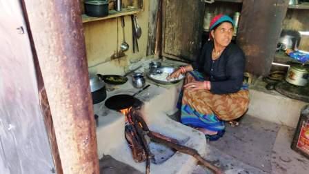 local woman preparing food for us
