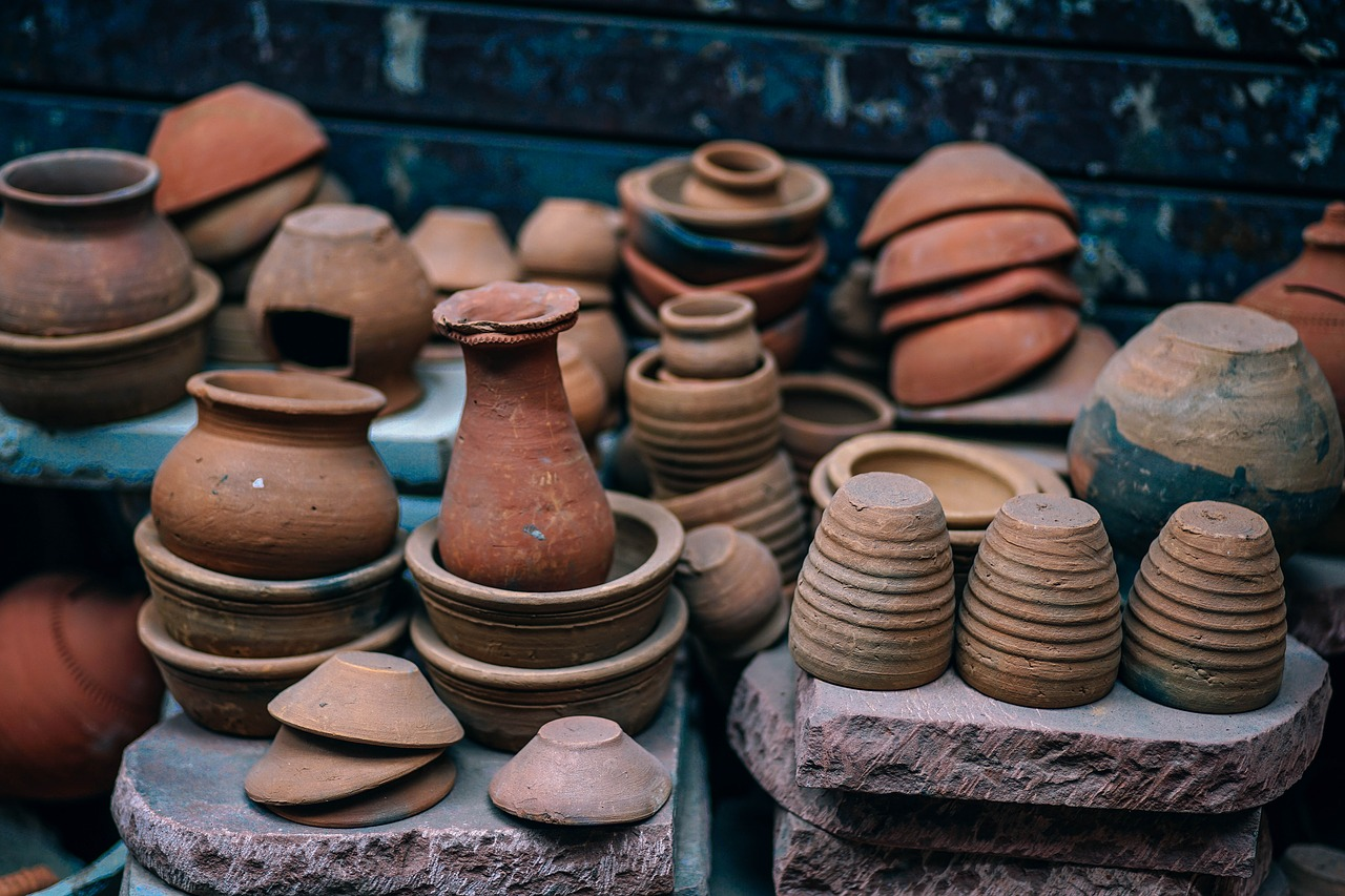 ancient, pottery, pots